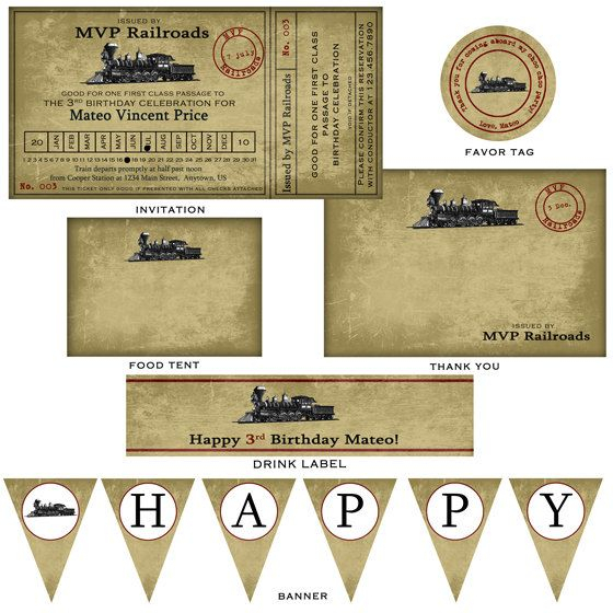 Vintage Train Ticket Party Package By Nounces On Etsy concernant Invitation Anniversaire Train