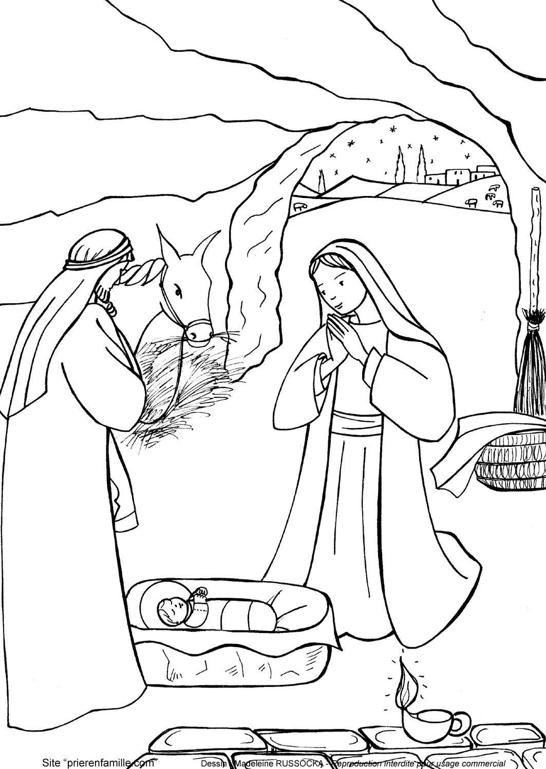 Vnd/09 - Naissance De Jésus Dans Une Étable (Dessin intérieur Creche De Noel Coloriage