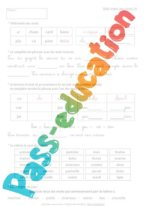 Vocabulaire Ludique - Exercices Corrigés - Français : 2Eme concernant Exercice Ludique
