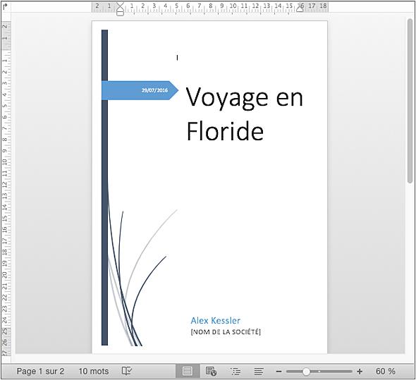Word 2016 Pour Mac - Insérer Une Page De Garde - Editions encequiconcerne Modèle Page De Garde Word